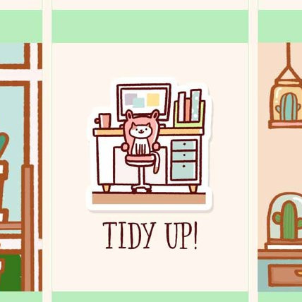 Tidy Up declutter planner stickers featuring a cat sitting on a chair in an office.