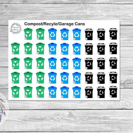 planner stickers featuring compost bins, recycling cans, and trash day icons to remind you to take the garbage cans to the street