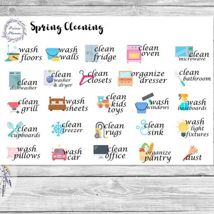 Spring Cleaning Planner Stickers by The Prairie Planner