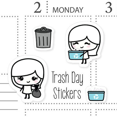 Trash Day Stickers by Stinkin Happy featuring cute girls taking out the trash or recycling, as well as trash can and recycling bin icon stickers