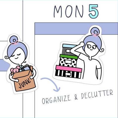 Planner Stickers featuring a purple haired girl organizing with boxes and decluttering with a junk box