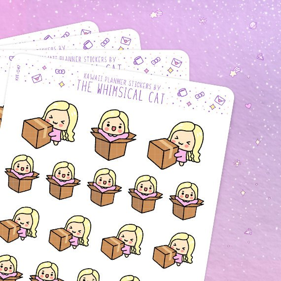 Package Planner Stickers by Whimsical Cat Studios kawaii chibi blonde girl holding boxes and popping out of them