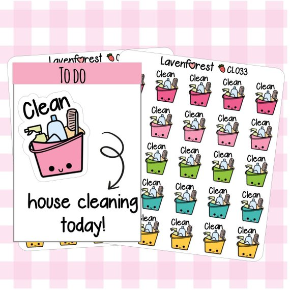Cleaning Stickers from LavenForest featuring a kawaii bucket with cleaning supplies in it in pink, green, and yellow.