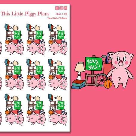 Yard Sale Planner Stickers featuring a yard sale with a pig.