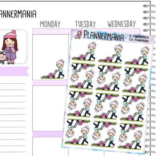 Mow Lawn Stickers by Planner Mania - cute planner stickers showing a pink-haired girl mowing the lawn - lawn reminder stickers
