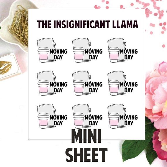 Planner Moving Day Stickers by Insignificant Llama - planner stickers featuring a planner, cup of coffee, and words Moving Day