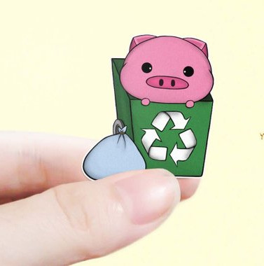 Pig Trash Day Stickers by YYPlanners featuring a green recycling bin with a cute piggie poking out