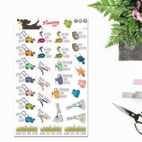 Lawn Care Stickers by The Prancing Doxie - planner stickers for lawn care reminders