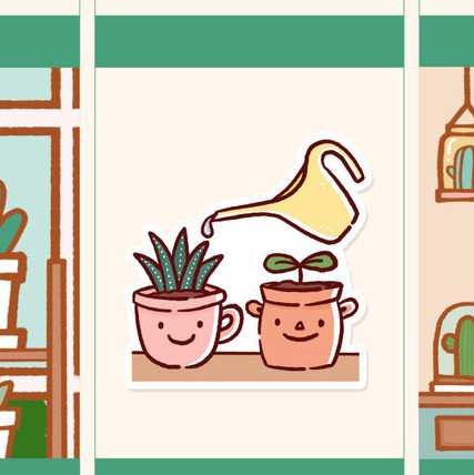 Water Indoor Plants Stickers from Happy DAYA Stickers featuring two cute plants in kawaii pots with a water pitcher pouring water on it.