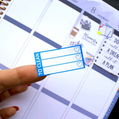 To Clean Checklist Stickers by Saphira Planner