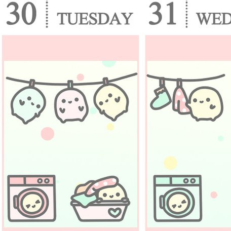 Cute Laundry Planner Stickers by Mochi Kichi Gifts