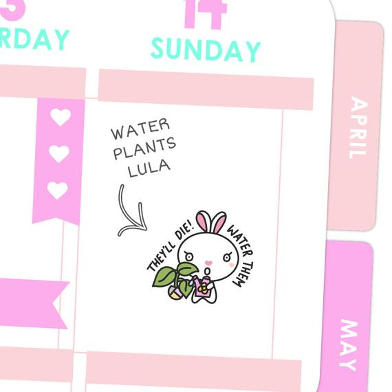 Water Plants Lula Sticker from Mockeri featuring a cute bunny watering a plant and the words