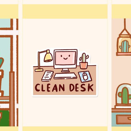 Kawaii Planner Sticker showing a desk with a lamp, paper, computer, cactus that says Clean Desk on it.