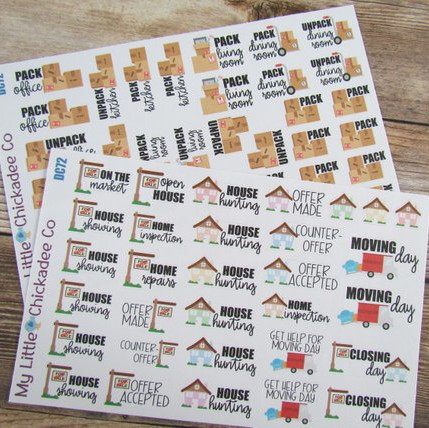 Moving Day Planner Stickers by My Little Chickadee Co