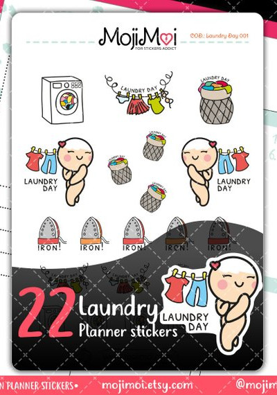 Kawaii Laundry Day Stickers from MojiMoi featuring an adorable kawaii girl naked next to clothes on a line saying laundry day planner stickers