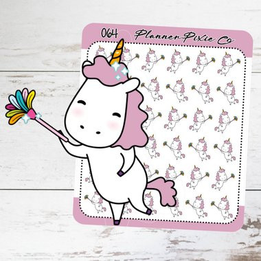 Unicorn Dusting Planner Stickers by Planner Pixie Co featuring a Kawaii unicorn dusting