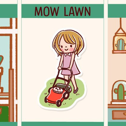 Mow Lawn Stickers by Happy DAYA Stickers - kawaii girl mowing the lawn stickers to remind you to mow the lawn