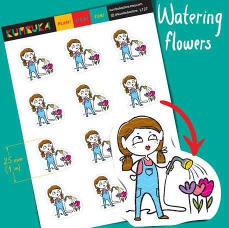 Watering Flowers Stickers by Kumbuka - planner stickers featuring a cute brunette girl in overalls with pigtails watering the flowers