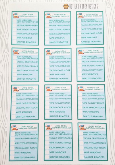 Living Room Cleaning Checklist Stickers by Bottled Honey Designs