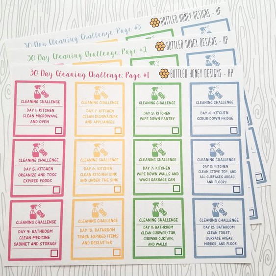 30 Day Cleaning Challenge Stickers by Bottled Honey Designs