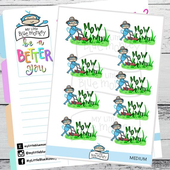 Mow Lawn Stickers by My Little Blue Monkey - planner stickers showing a cute little blue monkey mowing the lawn