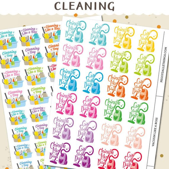Cleaning Planner Stickers with two sheets featuring rainbow stickers with a vacuum and the words