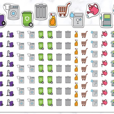 110 Housework Planner Stickers from Stickers by Ashley K with icons for laundry, vacuuming, cleaning, shopping, watering plants, and more.