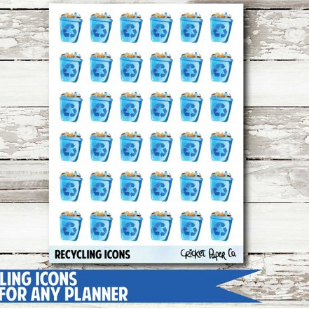 Recycling Icon Stickers by Cricket Paper Co featuring blue recycling bin icons to remind you of garbage day