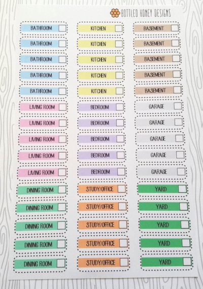 Room Cleaning Check Off Stickers listing rooms with checkboxes to check them off as you clean for the bathroom, living room, dining room, kitchen, bedroom, basement, garage, study/office, and yard.
