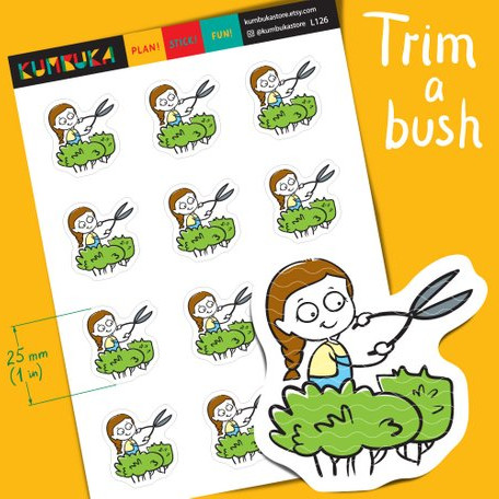 Bush Trimming Stickers by Kumbuka - planner stickers to remind you to trim your bushes hedge trimming featuring a cute girl trimming bushes