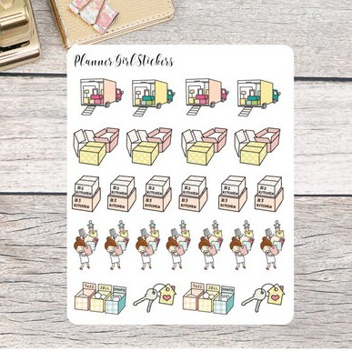 Moving Day Planner Stickers by Planner Girl Stickers