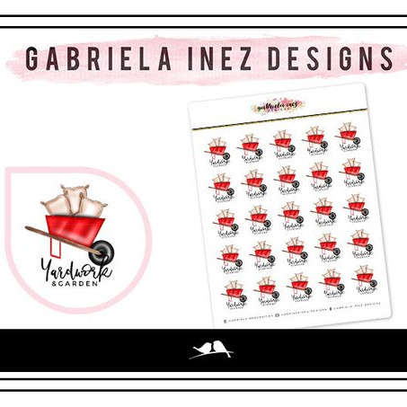 Yard Work Stickers by Gabriella Inez Designs - yardwork planner stickers showing a red wheelbarrow with bags in it