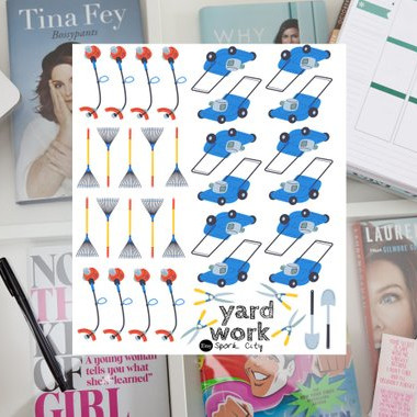 Yard Work Planner Stickers by Spork City - planner stickers featuring blue lawn mowers, hedge trimmers, rakes, shovels, and weed whackers