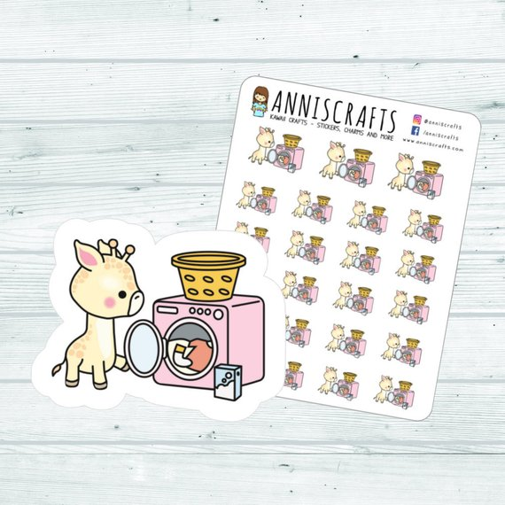 Giraffe Washing Machine Stickers by AnnisCrafts featuring a kawaii giraffe opening a washing machine door
