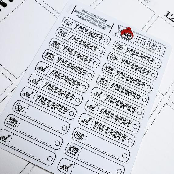 Yard Work Planner Stickers by Let's Plan It - planner stickers for keeping track of yard work
