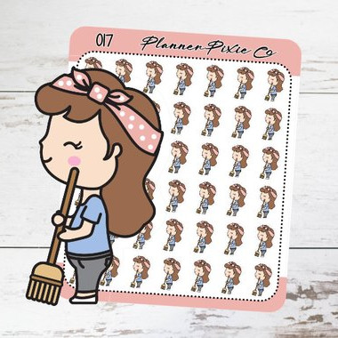 Planner Girl Sweeping Stickers by Planner Pixie Co featuring a cute brunette girl with a pink headscarf sweeping the floor.