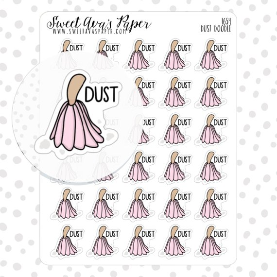 Dust Planner Stickers by Sweet Ava's Paper featuring a pink duster with the word Dust next to it