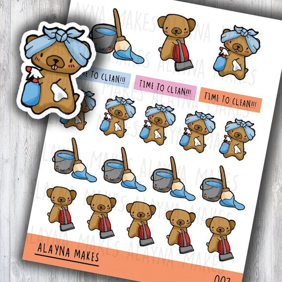 Cleaning Planner Stickers showing a Kawaii Pug wearing a headwrap and holding a cloth and spray bottle with a kawaii mop and bucket, kawaii pug holding a vaccum, and the words