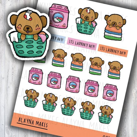 Kawaii Pug Laundry Stickers by Alayna Makes featuring a cute cartoon pug in a laundry basket with a sock on his head, or a kawaii pug with a pile of folded laundry, or a kawaii washing mashine, and the words