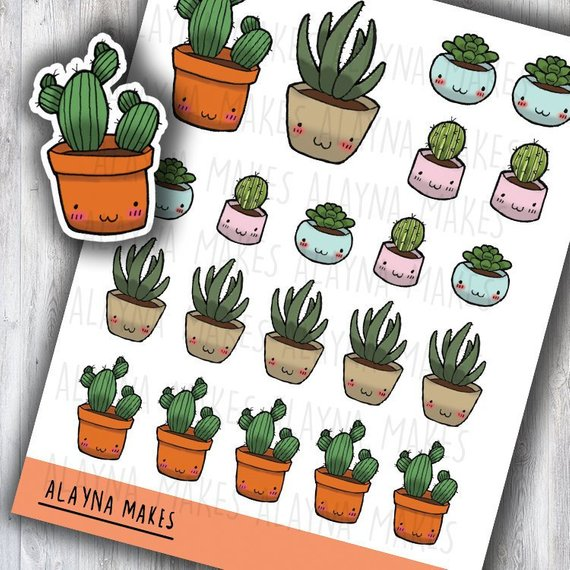 Cactus Stickers from Alayna Makes featuring kawaii plants in pots