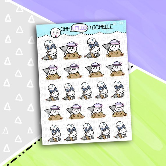 Rake Leaves Stickers by Oh Hello Michelle - cute planner stickers showing a chibi character raking leaves
