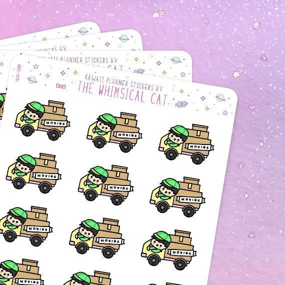 Moving Truck Stickers by Whimsical Cat Studio - Planner stickers featuring kawaii moving trucks