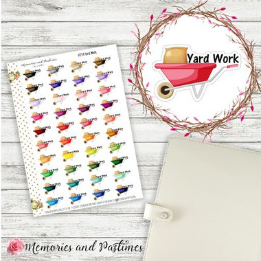 Yard Work Planner Stories by Memories and Pastimes - planner stickers showing colorful wheelbarrows and the words yard work yard work reminder stickers