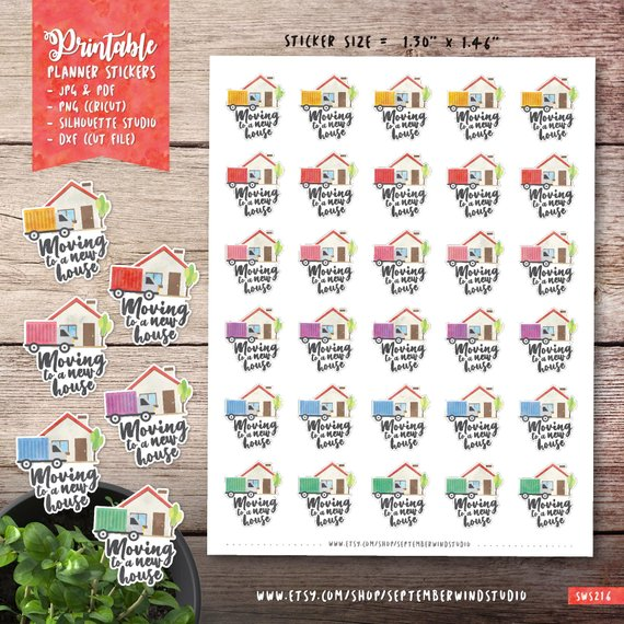 Moving Planner Stickers by September Wind Studio - planner stickers showing a house, moving truck, and Moving to a New House stickers