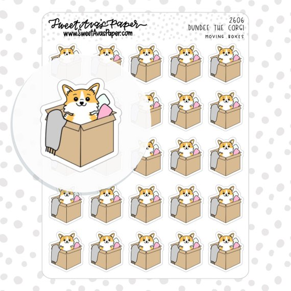 Corgi Moving Boxes Stickers by Sweet Ava's Paper - kawaii planner stickers showing a cute corgi popping out of a moving box
