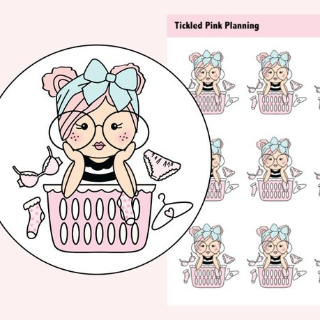 Primrose Laundry Stickers by Tickled Pink Planning featuring a cute pink haired girl with a headscarf and glasses and a pink laundry basket with bra, sock, panties, and a hanger.