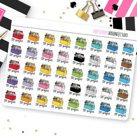 DIY Project Planner Stickers by Four Daisies Designs - Planner stickers showing colorful toolboxes saying DIY Project under them