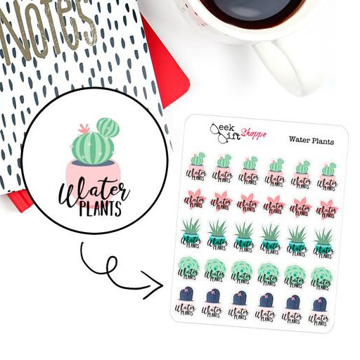 Water Plants Planner Stickers by Geek Gift Shoppe featuring pretty little plants and succulents with the reminder to water plants