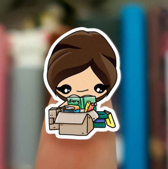 Moving planner stickers showing a cute kawaii girl with brown hair opening boxes and finding her diary