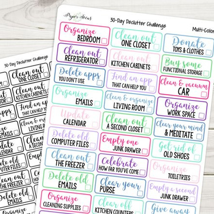 30 Day Declutter Challenge Stickers by Paper Focus